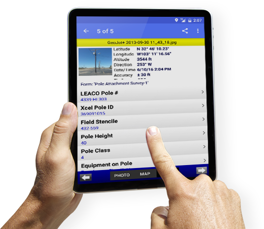 GeoJot+ mobile data collection app on a tablet
